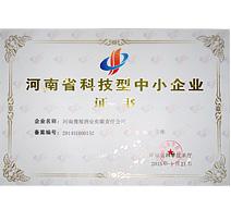15年河南省科技型中小企业证书